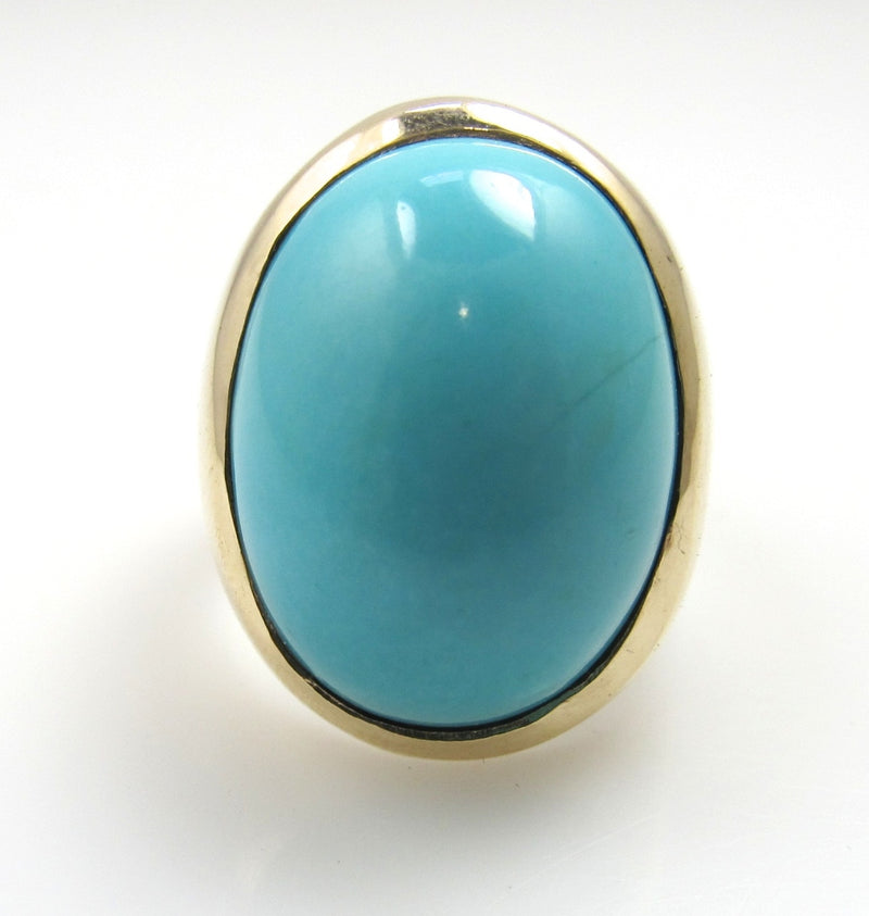 Vintage 14k gold turquoise ring, victorious cape may