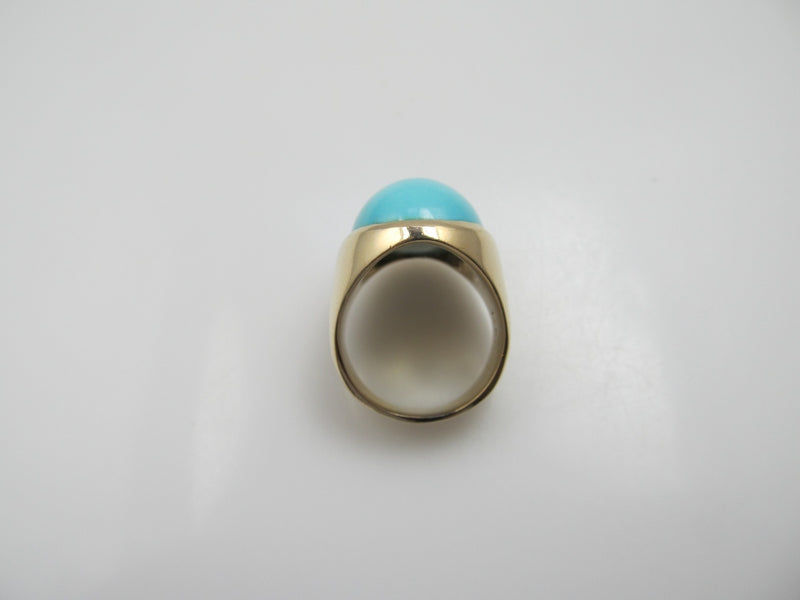 14k Yellow Gold Ring With Robin's Egg Blue Turquoise