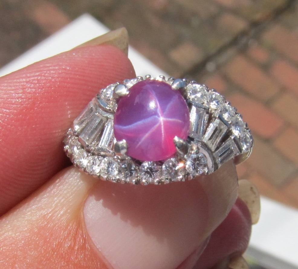 Vintage Platinum Ring With A Star Ruby And 1ct In Diamonds, Dated 1954