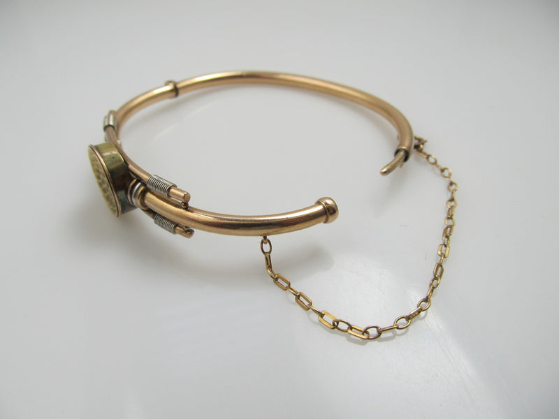 Victorian 14k White Rose And Yellow Gold Bangle Bracelet With A Diamond, Circa 1890