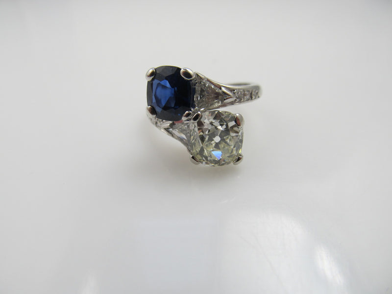 Platinum Ring With A 1.92ct Old Cut Diamond, 1.42ct Natural Sapphire, Circa 1920