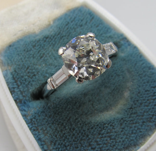 Platinum Engagement Ring With A 2.30ct Cushion Cut Diamond, Vs1 J, Circa 1920
