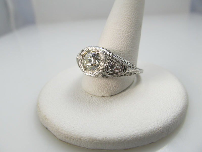 18k White Gold Filigree Engagement Ring With A .75ct Center Diamond, Vs2, F-g