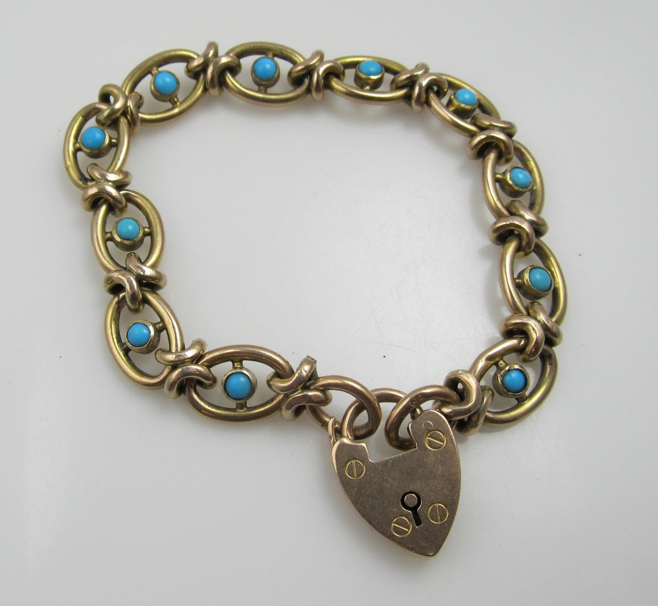 Antique natural turquoise padlock bracelet, 9kt yellow gold