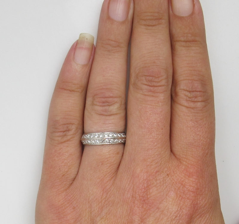 Platinum Double Row Band With .75cts In Diamonds.