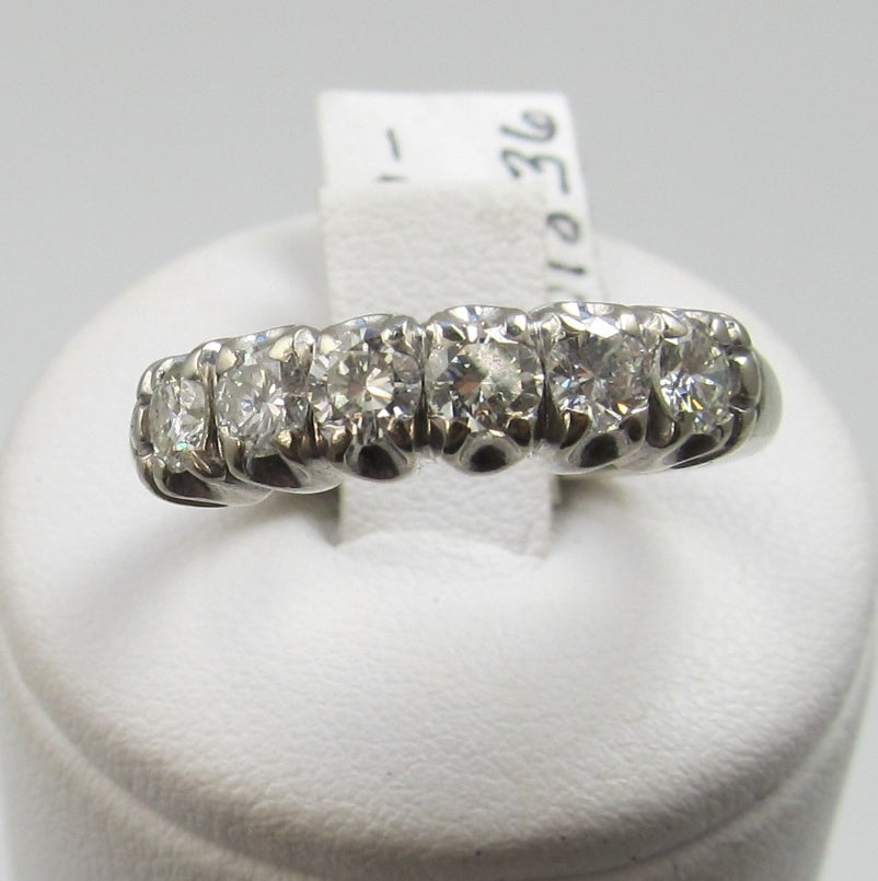 Vintage 14k White Gold Band With 1ct In Diamonds, Circa 1940