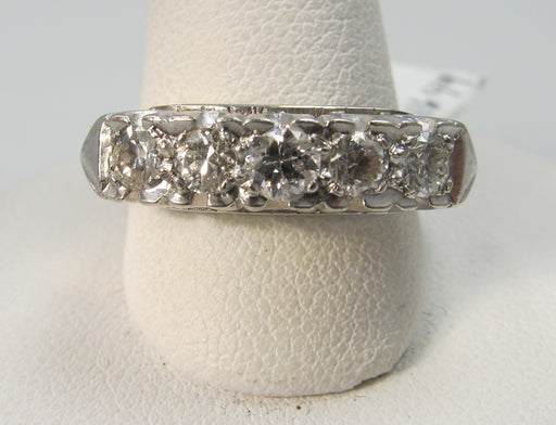 14k White Gold Fish Tail Band With .75cts In Diamonds, Circa 1940.