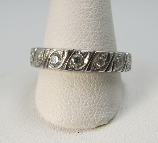 Vintage 14k White Gold Band With .90cts In Diamonds, Vs2-si1 F-g