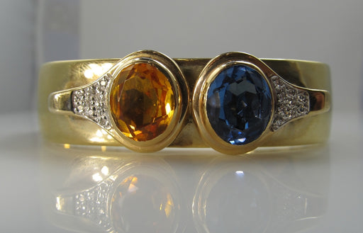 14k Yellow Gold Bangle Bracelet With Blue Topaz, Citrine And Diamonds