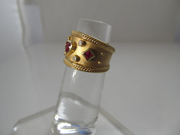 Wide 14k yellow gold cigar band ring, ruby and diamond