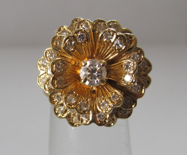 1ct TW diamond flower ring, 14k yellow gold