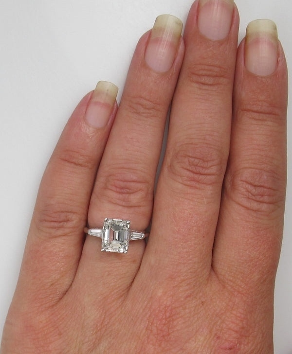 Platinum Engagement Ring With A 2.13ct Emerald Cut Diamond