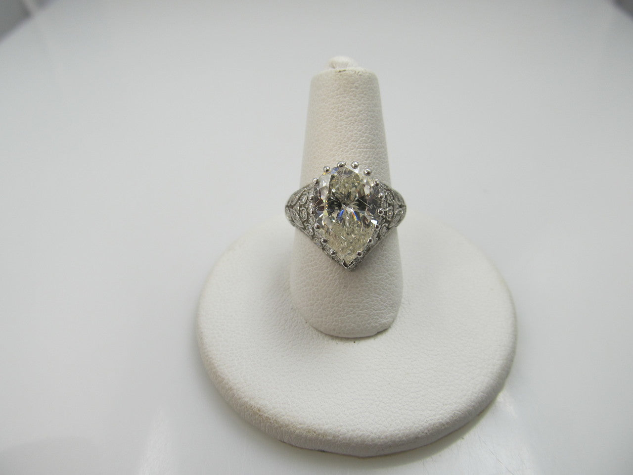 Platinum Filigree Ring With A 4.10ct Pear Shaped Diamond