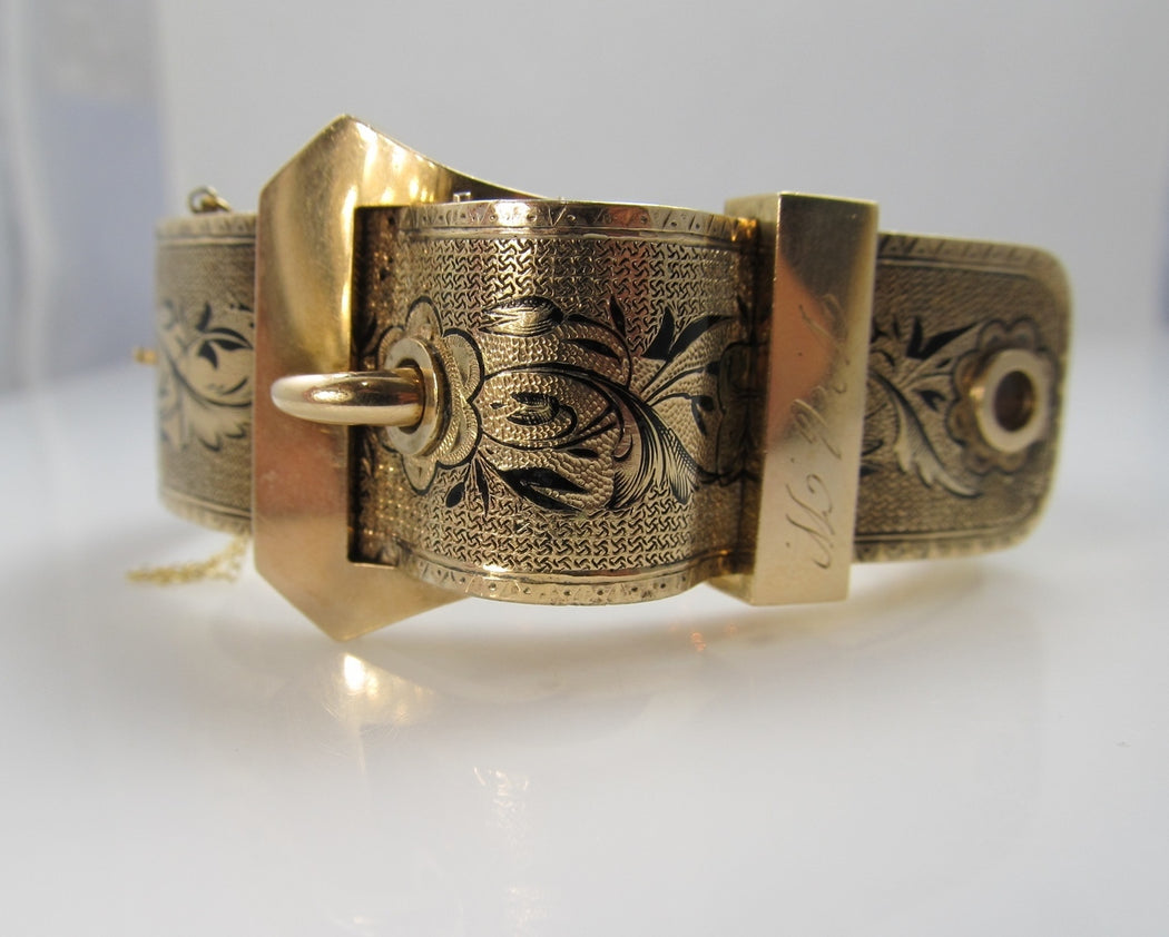 Victorian 14k Gold Buckle Bangle Bracelet With Enamel, Circa 1890