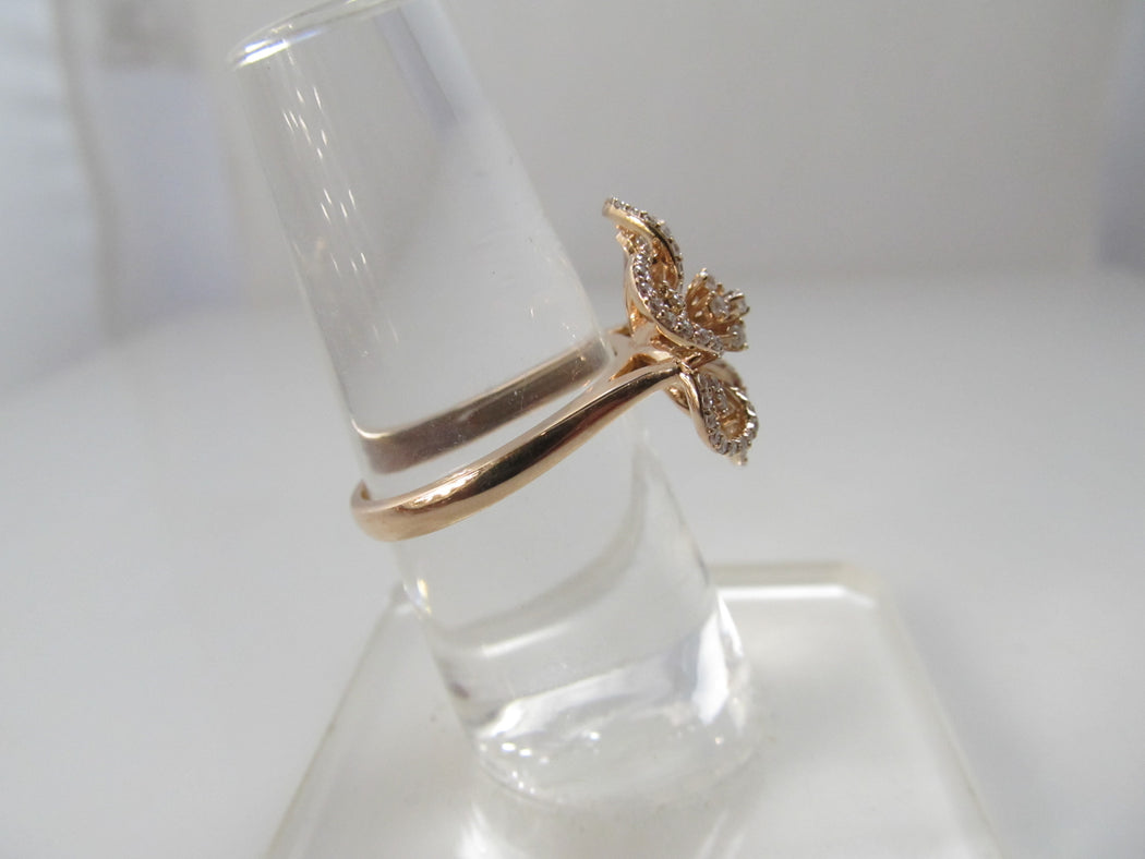 14k rose gold diamond flower ring