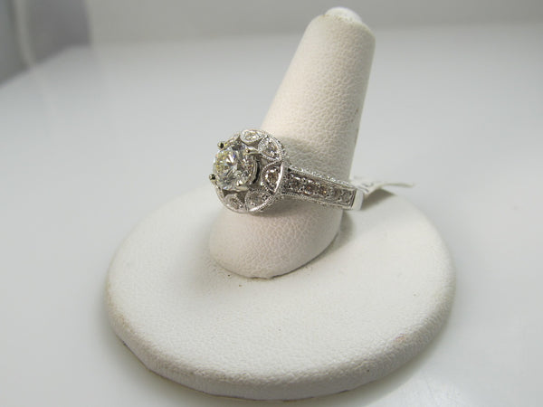 Estate 18k White Gold Halo Ring With 1.50cts Tw In Diamonds