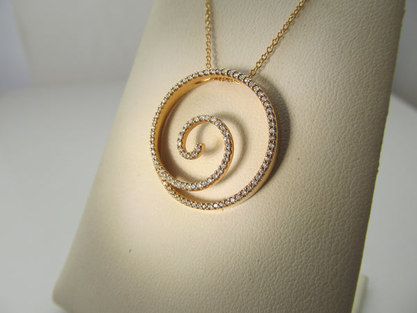 Rose gold diamond spiral necklace