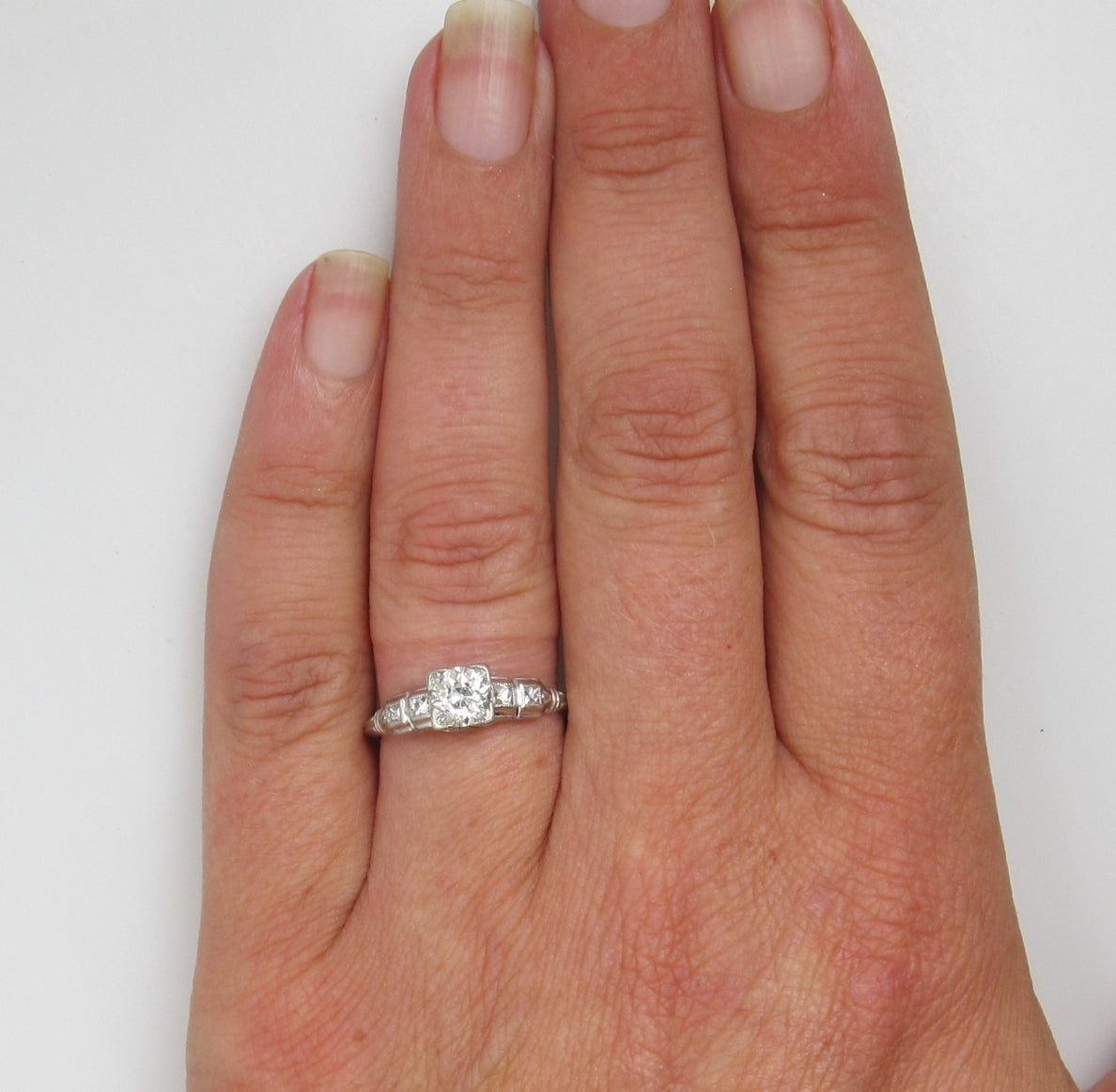 Antique Platinum Ring With A .70ct Diamond, Circa 1920