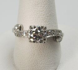 Vintage Platinum Engagement Ring With A .60ct Diamond, Circa 1920