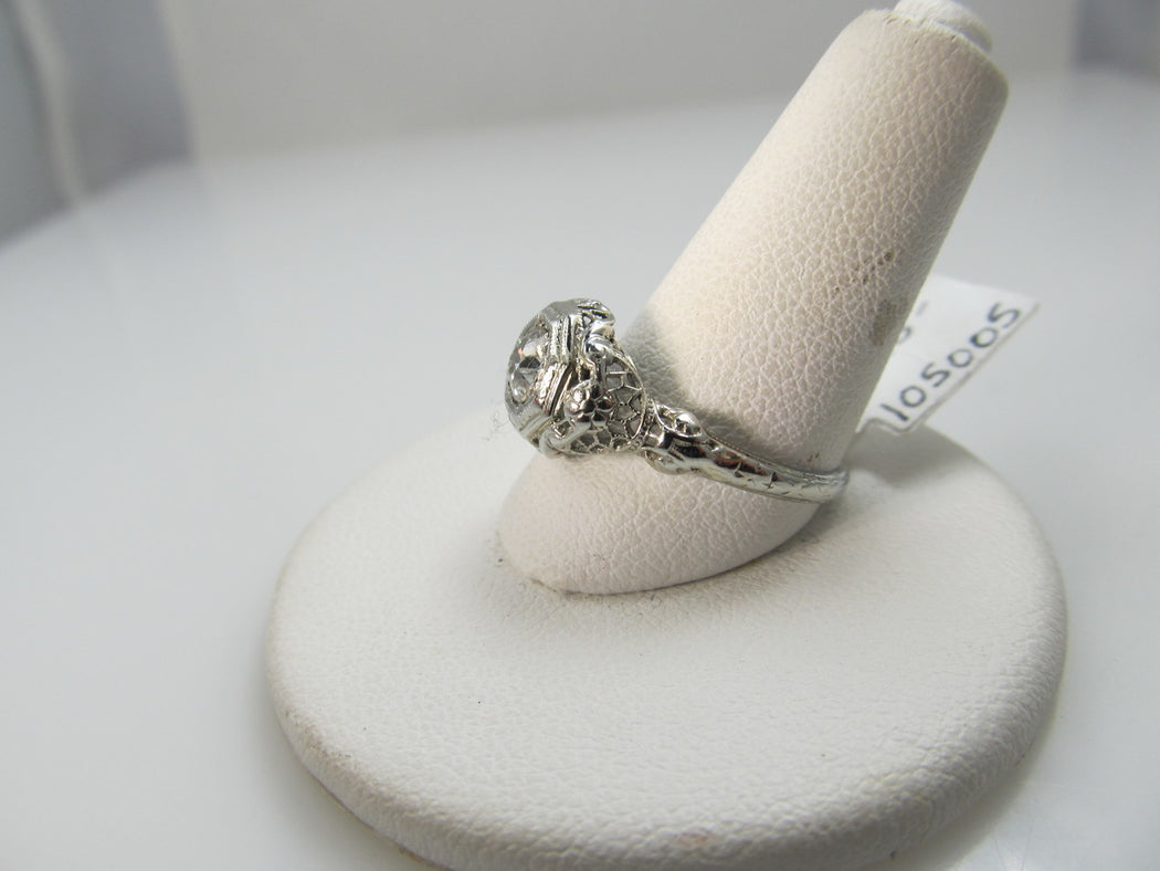 18k White Gold Filigree Ring With A .43ct Diamond, Vs2, H-i. Circa 1920