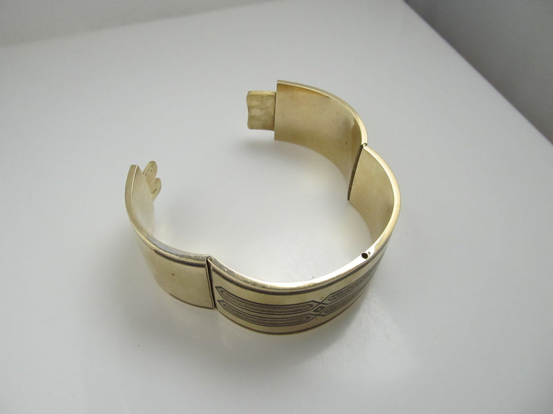 Wide Victorian 14k Yellow Gold Bangle With Enamel, Circa 1890