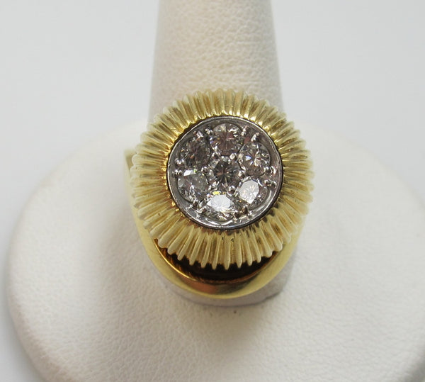 Vintage Retro Heavy 18k Gold Ring With .70cts In Diamonds, Circa 1960