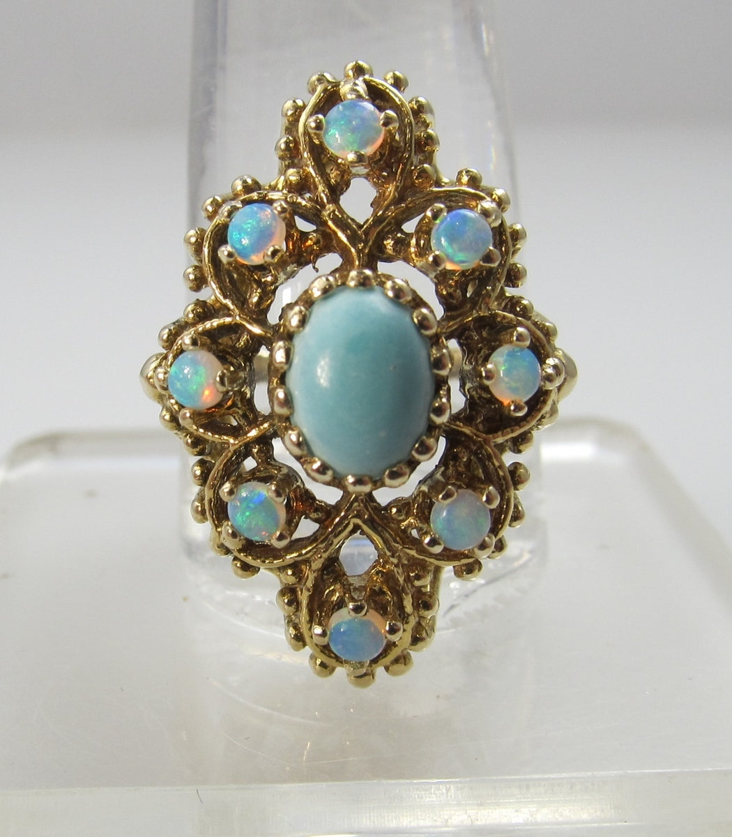 Vintage 14k Gold Ring With Opals And Turquoise