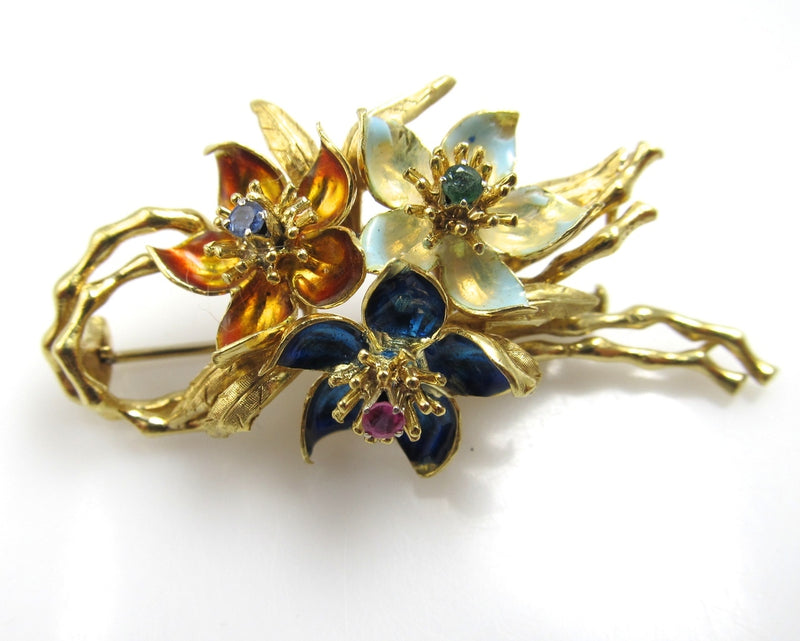 Vintage 18k Gold Enamel Flower Pin With A Ruby, Sapphire And Emerald.