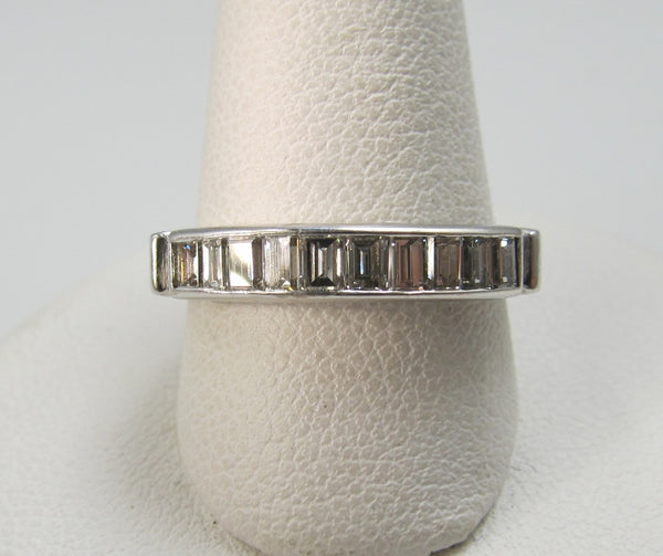 Vintage 14k White Gold Band With .50cts In Baguette Cut Diamonds.