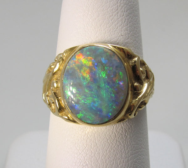 Antique 18k yellow gold black opal ring