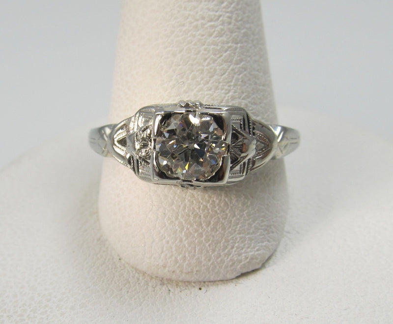 Vintage 18k White Gold Filigree Ring With A .60ct Diamond, Circa 1920
