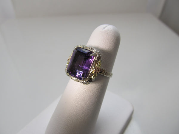 Vintage amethyst ring, 14k white, rose and yellow gold filigree