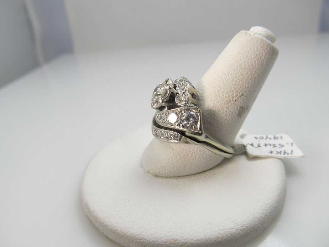 Vintage 1.55ct Tw Diamond Wedding Set, 14k White Gold