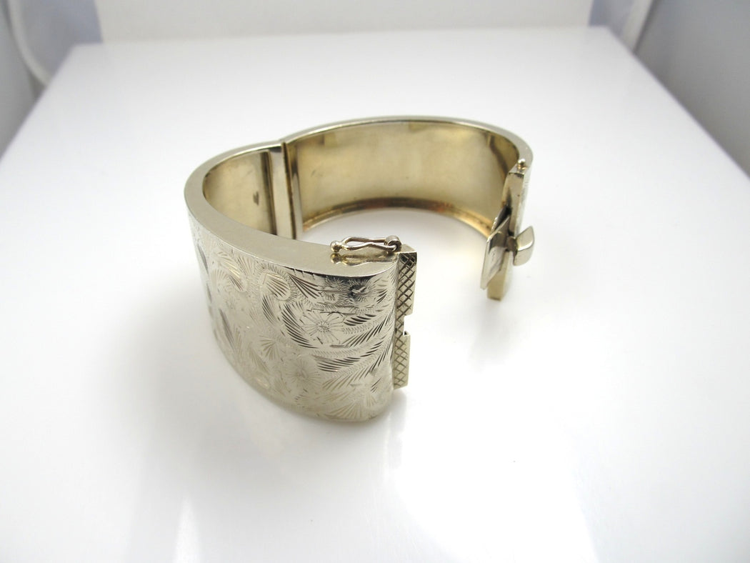 Wide Hand Engraved 14k Gold Bangle Bracelet