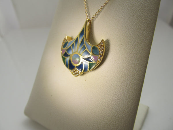 18k diamond necklace with plique a jour enamel