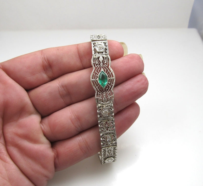 Platinum And 14k Filigree Bracelet With A .80ct Emerald And .70cts In Diamonds, Circa 1920