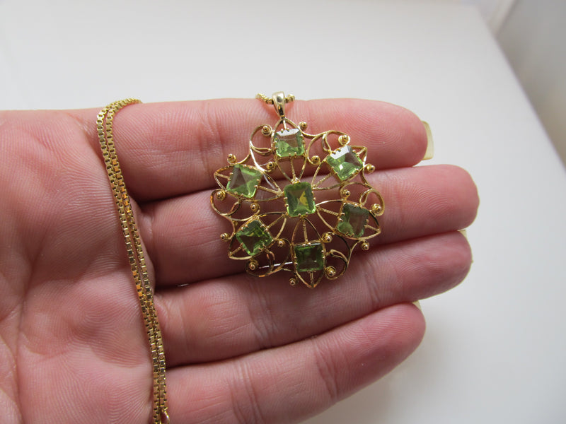Vintage peridot necklace, 14k yellow gold