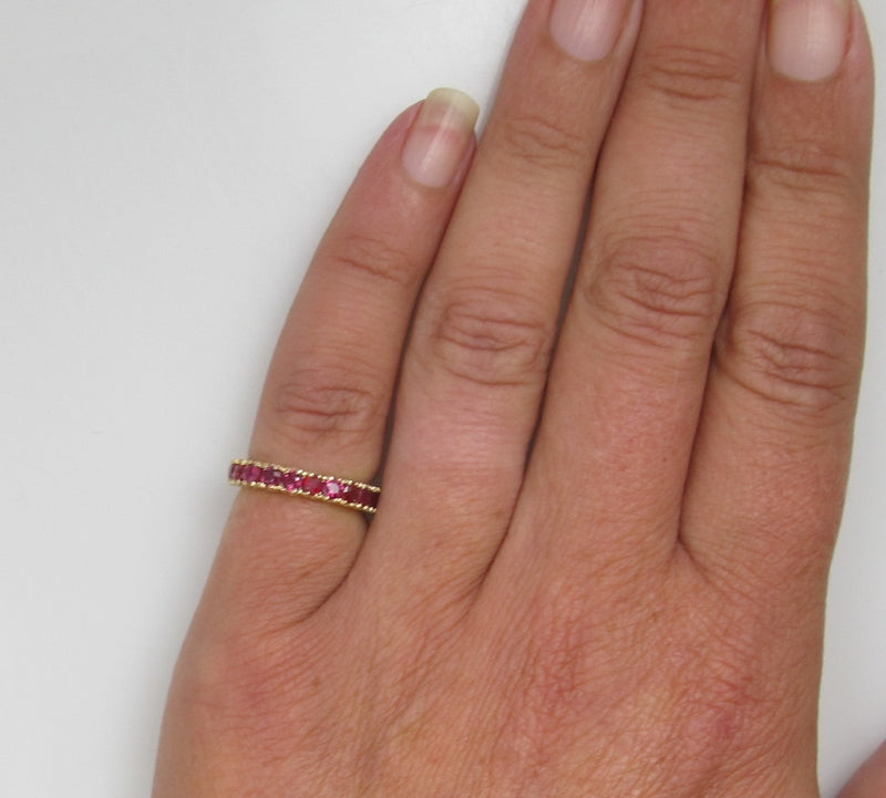 Vintage 14k Gold Eternity Band With 1.50cts In Rubies