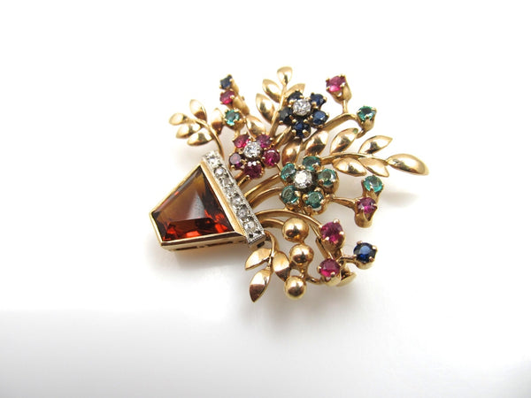 14k Rose Gold Flower Basket Pin With A Citrine, Diamonds, Emeralds, Rubies And Sapphires, Circa 1940