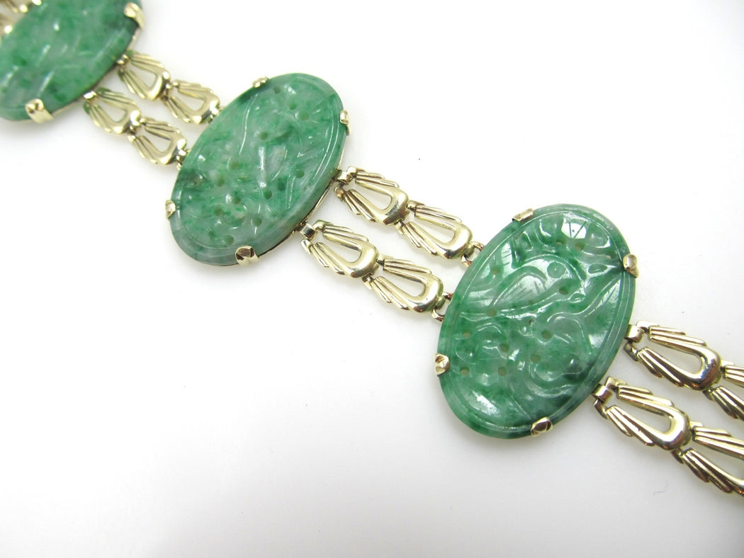 Vintage 14k Yellow Gold Bracelet With Carved Jade, Circa 1920