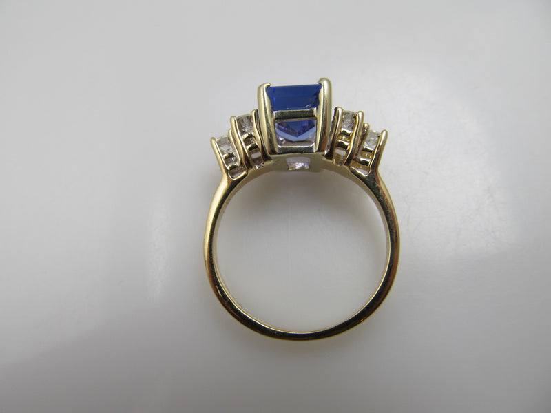 Modern Estate 18k Yellow Gold Ring With A 2ct Tanzanite And .30cts In Diamonds