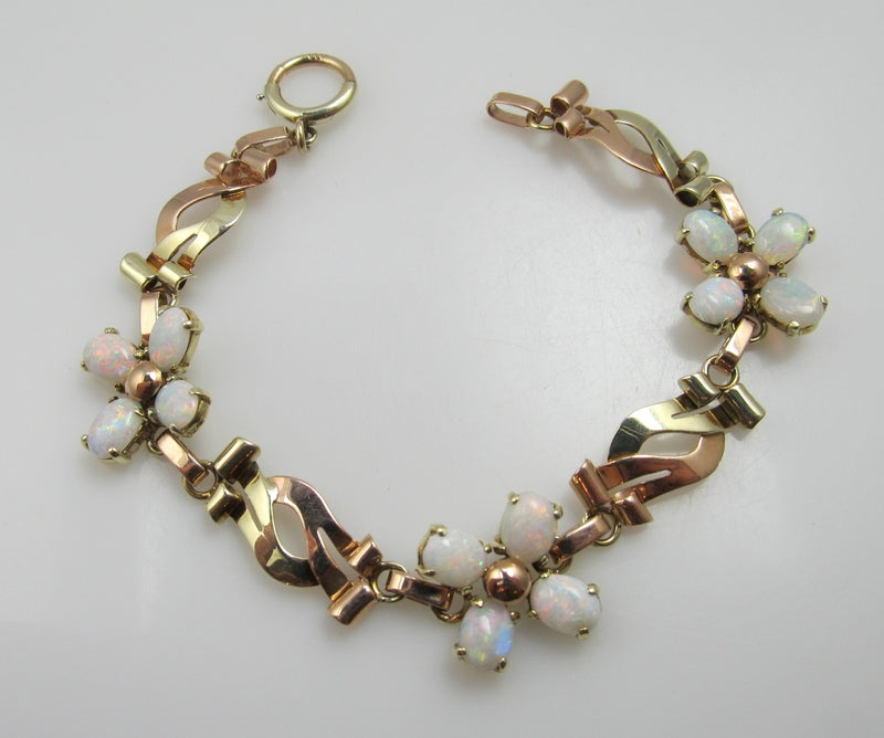 Vintage Retro 14k Rose And Yellow Gold Bracelet With Opals, Circa 1940