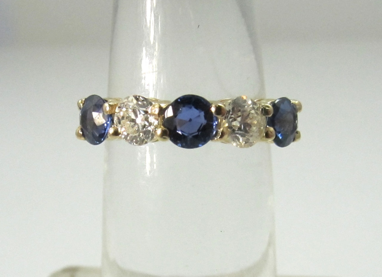 14k Gold Band With .80cts In Diamonds And 1.50cts In Sapphires