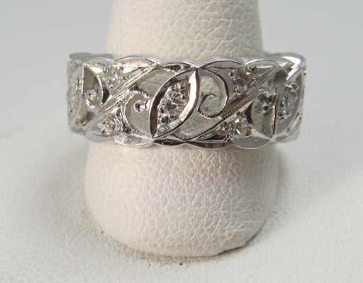 14k White Gold Eternity Band With .30cts In Diamonds, Circa 1920