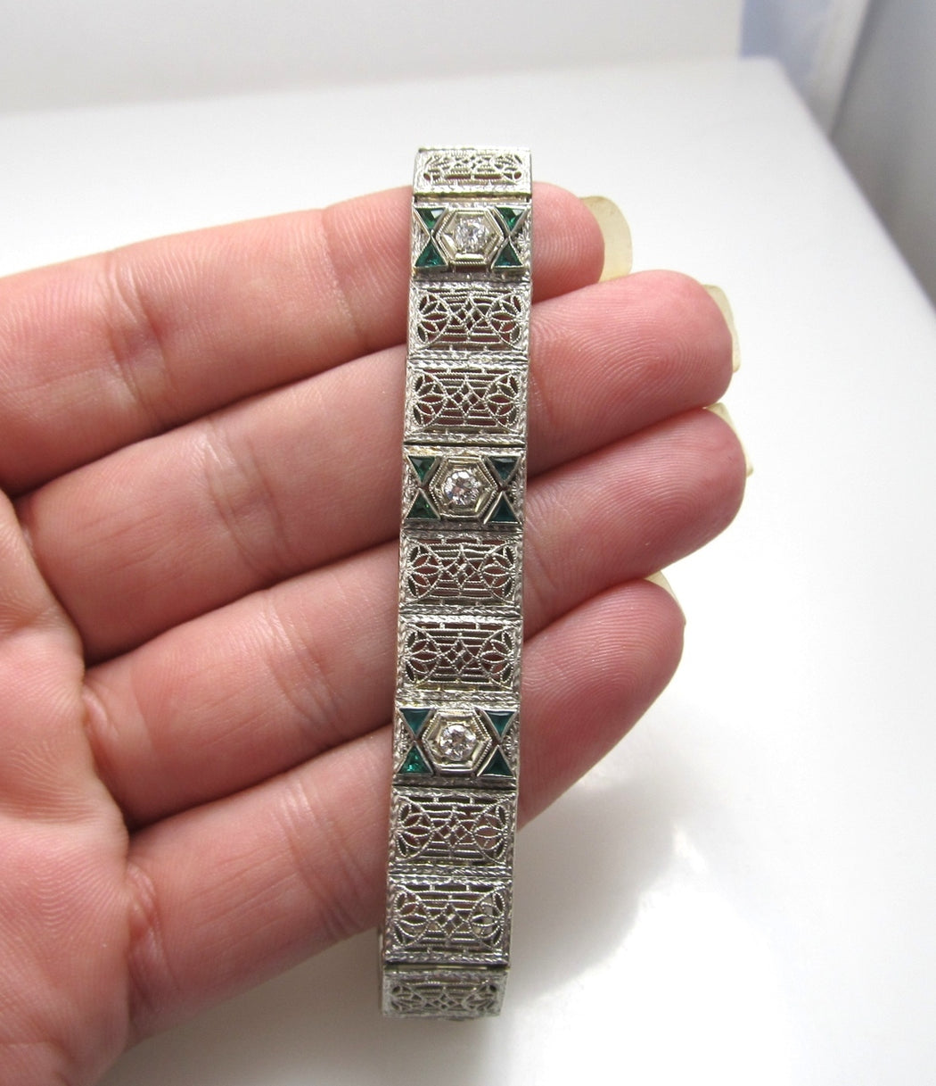 Platinum 14k Gold Filigree Bracelet With Emeralds And .30cts In Diamonds, Circa 1920