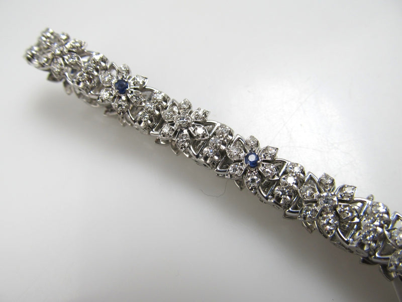 Jabel 18k White Gold Bracelet With 1.25cts In Diamonds, Sapphires. Circa 1940
