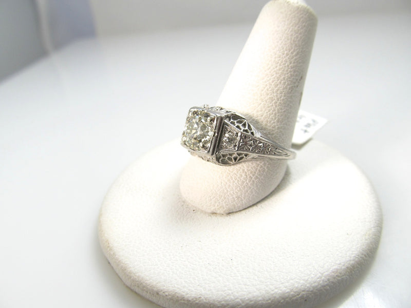 Antique Platinum Filigree Ring With A 1ct Center Diamond, Circa 1920