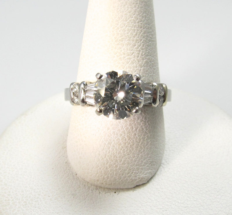 Modern Estate Platinum Engagement Ring With A 1.75ct Center Diamond