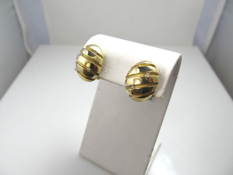 Modernist Estate 18k Yellow Gold Earrings With Diamonds