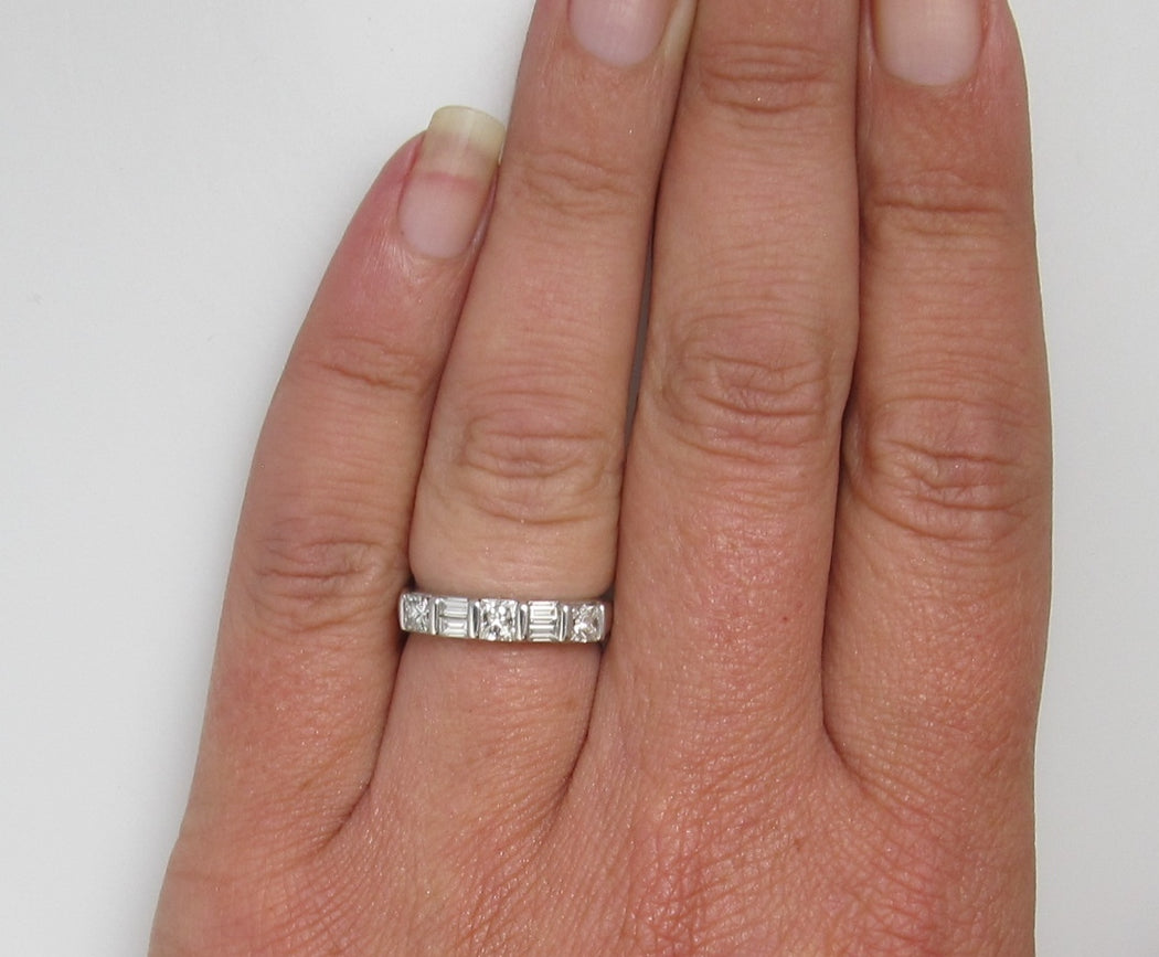 14k White Gold Band With .80cts In Baguette And Princess Cut Diamonds